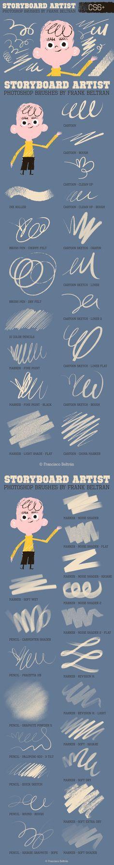 Photoshop Storyboard Artist Brushes. Photoshop Brushes. $5.00