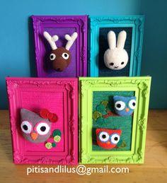 100%handmaded amigurumi dolls frames /cuadros con muñecos de amigurumi 100%hecho a mano by Pitis&Lilus  Info pitisandlilus@gmail.com