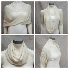 Except in Blue or Purple. Ivory Chiffon Shrug Bolero Chiffon Bride Bridal Capelet by boubo Sewing Clothes, Diy Clothes, Clothes For Women, Scarf Knots, Ways To Wear A Scarf, Chiffon Material, Bride Accessories, Clothing Hacks, Scarf Styles
