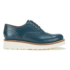 Grenson Women's Emily V Leather Brogues (1.200 RON) ❤ liked on Polyvore featuring shoes, oxfords, blue, print shoes, oxford shoes, shiny shoes, blue oxford and leather oxfords