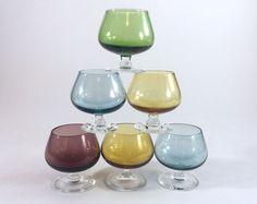 6 Vtg Multi-Color Mini Brandy Snifter Shot Glasses Cordials Cocktail Barware  | Collectibles, Barware, Shot Glasses | eBay!