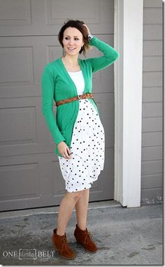 printed skirt, boyfriend cardigan, belt, ankle boots- ONE little MOMMA