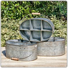 """Tin Divided Caddy 8 x 12"""" Great for holding flatware, drinks flowers, etc"""