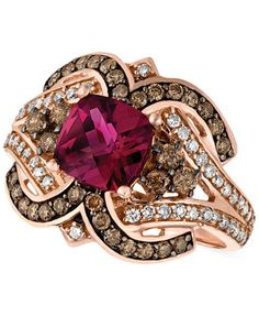 Le Vian Raspberry Rholodite Garnet (1-3/4 ct. t.w.) and Diamond (1/2 ct. t.w.) Ring in 14k Rose Gold