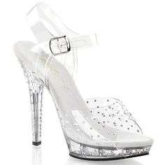 Womens Wonderful Strappy Rhinestone Sandals Shoes with 5 Inch Clear Heels Size: 5. Womens sparkling clear strappy sandals. 5 inch clear heels. 75 inch platform. Clear top and ankle straps with adjustable buckle closure. Rhinestone embellishment on top strap - heel - and platform.