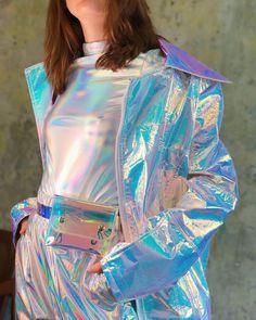 Holographic unicorn oversize long jacket in 2020 Holographic Fashion, Moda Fashion, Womens Fashion, Cool Outfits, Fashion Outfits, Dress Fashion, Mode Streetwear, Long Jackets, Nike Clothes