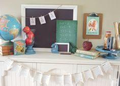 back to school mantel with globe, chalkboards, vintage books, apples, pencils, rulers, DIY dictionary page buntings at thehappyhousie (HoH164)