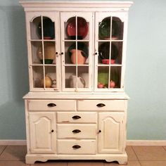Off white chalk paint by Ginger's Girl. China Cabinet found at Salvation Army.