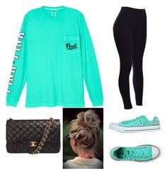 """""""Comfy and cute"""" by graciepoo1025 ❤ liked on Polyvore featuring Victoria's Secret, Converse and Chanel"""