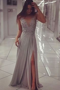 Gray Prom Dresses Long,Cheap Prom Dresses on Line,Prom Gowns for Girls,Beaded Prom Dresses for Woman,Evening Dresses,Party Dresses,Grey Chiffon Beaded Prom Dress with Slit, Sexy Long Formal Dresses, M70 #partydresses