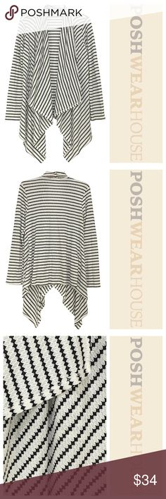White & Black Open Light Knit Swing Front Cardigan Great stretch! • Can fit a LARGE with ease • Polyester, Rayon & Spandex Meraki Sweaters Cardigans