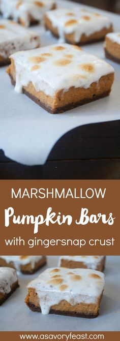 Pumpkin lovers, you've got to try this new recipe! Marshmallow Pumpkin Pie Bars with Gingersnap Crust are sure to be a hit this Fall. A simple, pumpkin pie bar with a homemade two-ingredient gingersnap crust. All topped with roasted marshmallows!