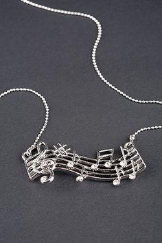 amazing music necklace that i want Music Necklace, Music Jewelry, Cute Jewelry, Jewelry Accessories, Accesorios Casual, Music Love, Amazing Music, Music Stuff, Music Bands