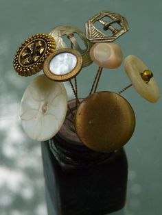 vintage buttons / hat pins #millinery #judithm