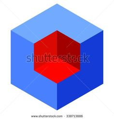 Vasarely cube illustration, blue and red logo design element, optical illusion