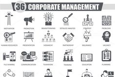 Corporate management black icons set ~ Icons on Creative Market
