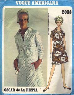 1960s Vogue Americana Sewing Pattern 2038 Designer Oscar de la Renta Dress A-line High Waist Wide Collar Mod Fashion Bust 32. $30.00, via Etsy.