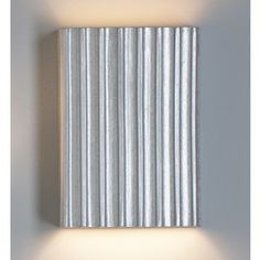 """10"""" Silver Steel Corrugated Wall Sconce - Vertical Pattern - Faux Finished Ceramic Wall Sconces - Interior Wall Lights 
