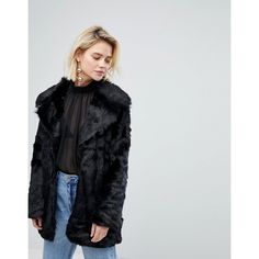 Warehouse Faux Fur Jacket (8.905 RUB) ❤ liked on Polyvore featuring outerwear, jackets, black, faux fur jacket, fake fur jacket, warehouse jackets and tailored jacket