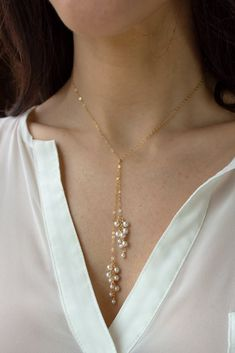 Pearl Dust Tie Necklace – Christine Elizabeth Jewelry A luxe simplistic design that is super easy to wear. There is no clasp – just loop [. Lariat Necklace, Dainty Necklace, Gold Necklace, Gold Bracelets, Diamond Earrings, Dainty Jewelry, Silver Earrings, Pearl Necklace Designs, Diamond Jewelry