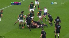 The New Zealand captain attempts to chase South Africa's ball carrier after arriving from an onside position