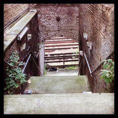 #weird #disused staircase down to #railway tracks in #Shoreditch #bricklane area. Like a dangerous and less attractive #Venice! Get the #Kooky #London #App #ig_London #igLondon #London_only #UK #England #quirky #odd #weird #photoftheday #photography #picoftheday #igerslondon #lovelondon #timeoutlondon #instalondon #londonslovinit #mylondon #Padgram