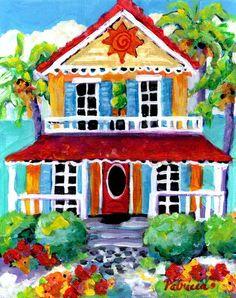 Sunny Beach House Art Painting by ? on Etsy research artist? Kitsch, Haitian Art, Caribbean Art, Cottage Art, Beach Cottages, Beach Houses, Coastal Art, Tropical Art, Naive Art