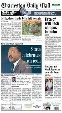 On Monday's front, The Senate Agriculture and Rural Development Committee will discuss nine bills including two cottage agriculture industries today. A raw milk bill would allow for the products' sale as soon as Jan. 1 2016. A deer farming bill would permit non-native species to be raised in the state. Read more at http://www.charlestondailymail.com/article/20150118/DM01/150119252/1420
