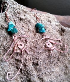 Amazonite and copper Eyes of Horus and Ra earrings.