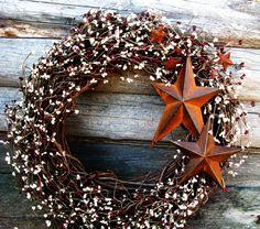 PRIMITIVE CRANBERRY VANILLA Rusty Star Wreath-Large Berry Wreath-Holiday Door Wreath-Grapevine Wreath Scented Spiced Cran-Apple-Choose Scent, $89.00
