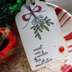 Meet Me Under the Mistletoe Holiday Gift Tag Set of 6. $3.50, via Etsy.