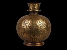 An 18th C. Mughal Islamic Brass Huqqa Base. | 482046 | www.wjmantiques.com