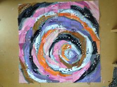 Spirale 100 x 100 cm , for sale Scrappy Quilts, Mini Quilts, Patch Quilt, Quilt Blocks, Circle Quilts, Ursula, Textiles, Quilting Board, String Quilts