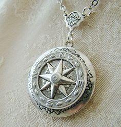 Silver Star Kompass Runde Medaillon Hochzeit Meer Ozean Matrose Mutter Vater Schwester Bruder Sohn Reise einfach Elegant Freund Foto-Bilder - verloren