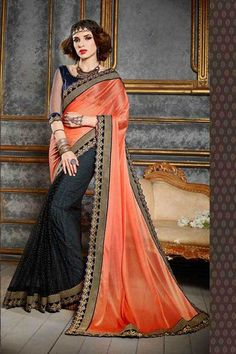 Mesmerize the crowd with this orange and black color net embroidered half n half sari. This gorgeous attire is displaying some incredible embroidery done with lace and resham work. Buy Designer Sarees Online, Latest Designer Sarees, Indian Bridal Lehenga, Indian Beauty Saree, Indian Sarees, Hyderabad, Chennai, Party Wear Sarees Online, Net Blouses