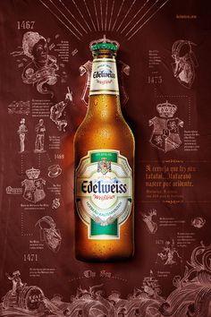 Creative Advertising, Print Advertising, Print Ads, Poster Prints, Food Graphic Design, Beer Poster, Beer Packaging, Wine And Beer, Beer Label