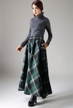 Grid wool skirt maxi skirt women skirt (1089)