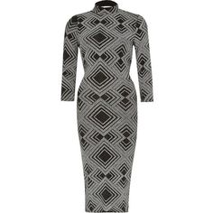 River Island Silver turtle neck bodycon dress ($80) ❤ liked on Polyvore featuring dresses, bodycon dresses, silver, women, geometric print dress, turtleneck crop top, women dresses, body conscious dress and black and silver dresses