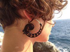 Yoga Bling Black Wood Earrings w Sterling Silver Earwire