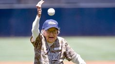 105-year-old woman throws Padres first pitch - go Agnes!