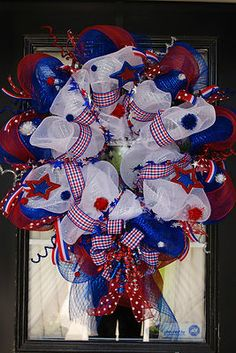 Memmorials Day an 4th of July mesh wreath