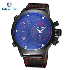 33875c707972 3 Time Zone Quartz Watches Men Casual Sports Army Military Wrist Watch