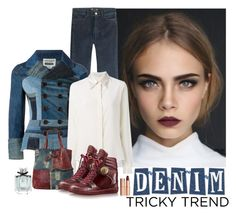 """""""Denim Tricky Trend"""" by katiethomas-2 ❤ liked on Polyvore featuring MiH Jeans, STELLA McCARTNEY, AmeriLeather, Louis Vuitton, Gucci and Charlotte Tilbury"""