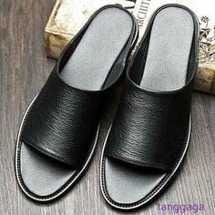 Leather Slippers For Men, Mens Slippers, Fashion Slippers, Fashion Sandals, Real Leather, Leather Men, Comfortable Mens Dress Shoes, Slipper Sandals, Beaded Sandals