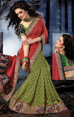 Exclusive Parrot Green and Red Designer Saree IDE97425865 - www.indianwardrobe.com