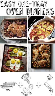30 Easy One-Tray Oven Dinners...my stove top is broken i think i will be cooking a lot of these!