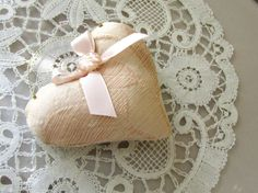 Pale Peachy Pink Heart Ornament with Vintage Ribbon by XmasMuse