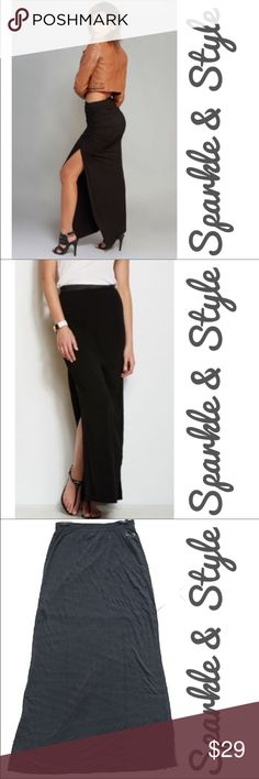 """Seven7"" brand skirt Black skirt with slit on both sides. Attached short inner slip. Subtle stripe in fabric.Elastic waist gives this skirt a very comfortable fit! Seven7 Skirts"