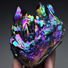 328g Rainbows Angel Aura Quartz Crystal Platinum & Silver Coated Cluster