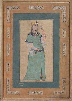 Portrait of a Woman Date: mid-16th century Geography: Iran Medium: Tempura on paper Dimensions: H. 16 7/8 in. (42.8 cm) W. 10 1/4 in. (26 in.) Metropolitan Museum of Art 52.20.6
